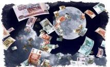 деньги на фоне луны