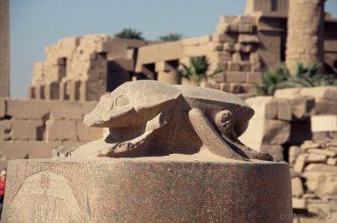 Древние статуи и погребальницы с жуком Скарабеем